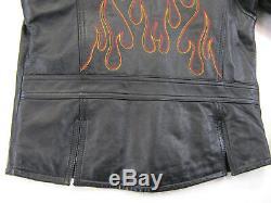Harley Davidson Pour Femme En Cuir S Flammes Noires Zip Bar Bouclier Café Snap