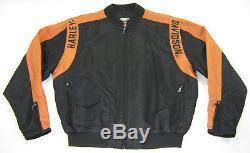 Harley Davidson Pour Hommes S En Nylon Noir Orange Barre Bouclier 97068-00v Zip Up