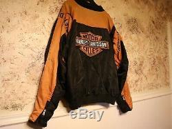 Harley Davidson Racing Veste 3xl Orange Bar En Nylon Noir Bouclier 97068-00v Zip