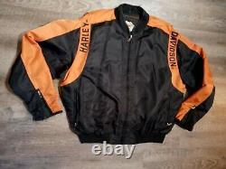 Harley Davidson Racing Veste Nylon Noir Orange Bar Shield Windbreaker Sz XL