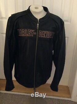 Harley Davidson Roadway Veste Noire En Cuir Bar & Shield 98015-10vm 2tg Rare