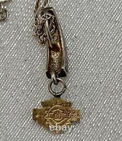 Harley Davidson Stamper 10k Gold Necklace Bar Shield Pendant Chaîne De Sterling 19