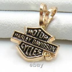Harley Davidson Stamper 14k Logo Or Jaune Bar Bouclier Petite Pendentif Ljh3