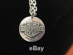 Harley Davidson Sterling Willie G Skull Réversible Bar & Shield Collier Pendentif