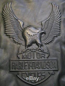 Harley Davidson Veste De Moto En Cuir Des Années 90 Eagle Bar & Shield En Relief L