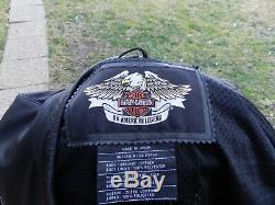 Harley Davidson Veste En Cuir B & F Ventilé Bar & Shield Café Racer Gaufrée Sz Lg