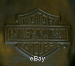 Harley Davidson - Veste En Cuir - Barre Et Bouclier Estampés Doublés De Poids Épais - Grand