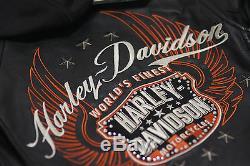 Harley Davidson Veste En Cuir Moxie Bar & Shield Pour Femmes Avec Capuche 3 En 1 98003-11vw S