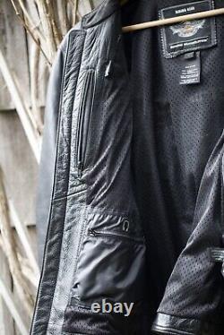 Harley Davidson Veste En Cuir Noir Roadway Pour Hommes Bar & Shield Large 98015-10vm
