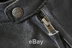 Harley Davidson Veste En Cuir Noir Top Wing Bar & Shield Pour Hommes 98058-13vm M