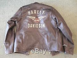 Harley Davidson Veste En Cuir Noir Top Wing Bar & Shield Pour Hommes 98058-13vm Med