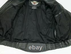 Harley Davidson Veste En Cuir Shifter Black Embossed Bar Shield Vents Taille L