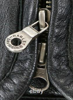Harley Davidson Veste En Cuir XL Shifter Noir Embossé Bar Bouclier Zip Évents