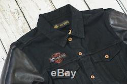 Harley Davidson Veste En Jean Noir XL Avec Manches Et Manches Pour Hommes En Cuir XL 99183-19vm