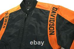 Harley Davidson Veste M Nylon Noir Orange Bar Bouclier Course 97068-00v Zip Euc