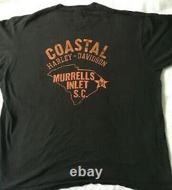Harley Davidson Vintage Bar Et Shieldlogo, Sc. Poche Moto T-shirt 80's XXL