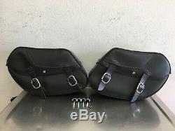Harley Dyna Bar & Shield En Cuir 2002-2017 Saddlebags Dyna 90369-06d K714