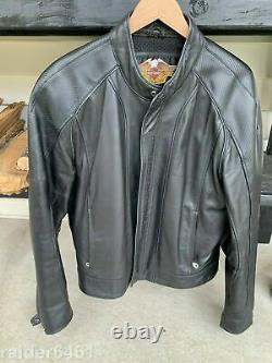 Harley Embossed Spell-out / Bar - Shield Leather Jacket Lrg 97009-04vm Euc