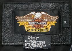 Harley Gilet En Cuir Harley Davidson M L Piston Noir II Encliqueter Barre Bouclier Encliqueter
