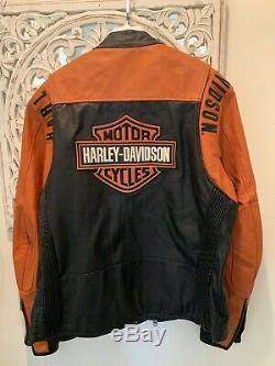 Harley Noir Et Orange Perforé Veste En Cuir Bar & Shield XL Très Bon Cond