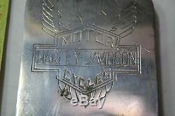 Harley Shovelhead Console De Tableau De Bord Du Panneau De Réservoir Bar Winged Bouclier Ancien Ep20826 Cru
