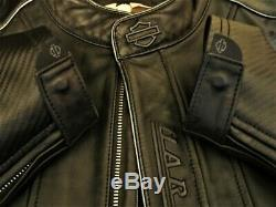 Harley Sort Gaufrée-out / Bar & Shield Veste En Cuir Pour Hommes Taille XL 97009-04vm