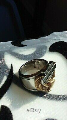 Harley-davidson 10k Gold Eagle Biker Bague Shank Acier Bar & Shield Logo Taille 7