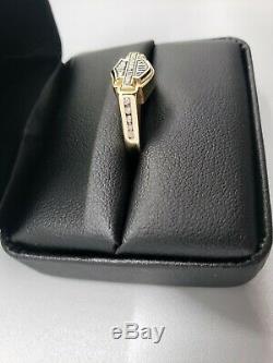 Harley-davidson 14k Diamond Bar & Shield Womans Ring, Très Rare! Harley Stamper