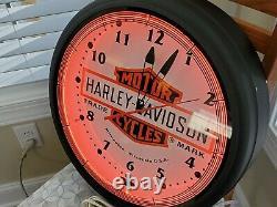 Harley-davidson 20 Dealer Neon Clock Large Bar & Shield Wall Clock USA Made