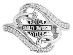 Harley-davidson, Bague En Filigrane Bling Pour Femmes, Argenté Hdr0473