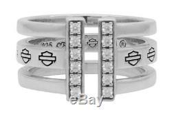 Harley-davidson - Bague Fendue Bling Bar & Shield Pour Femme, Argent Sterling Hdr0428