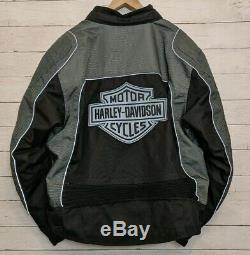 Harley-davidson Bar 3xl Reflective Hommes Et Bouclier Blindé Veste Noire Gris Euc