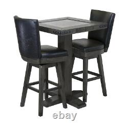 Harley-davidson Bar And Shield Pub Place Table & 2 Square Tabourets Industrial G
