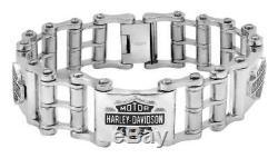 Harley-davidson Bar Chaîne De Vélo Pour Hommes & Shield Bracelet, Hsb0207 En Acier Inoxydable