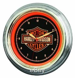 Harley-davidson Bar Et Bouclier Led Wanduhr 230v 12v Hdl-16634