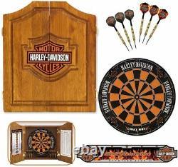 Harley-davidson Bar Et Shield Steel Tip Dartboard Kit Livraison Gratuite