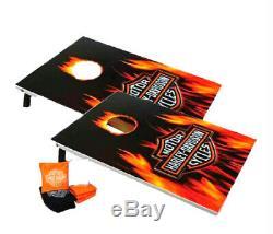 Harley-davidson Bar & Shield Avec Sac Flames Jeu De Poches Set 66279d