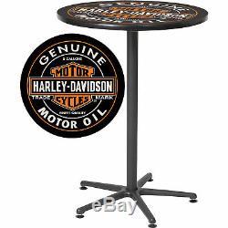 Harley-davidson Bar & Shield Bidon D'huile Grand Round Café Café Pub Table 41in. H