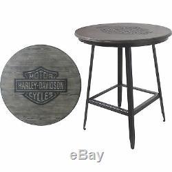 Harley-davidson Bar & Shield Bois Bar Caf Table En Métal 40inh De Cadre, Gris Cendre