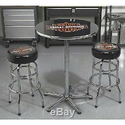 Harley-davidson Bar & Shield En Acier Chrome Cadre Logo Bar Table Ronde 41dans. H