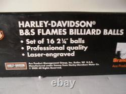Harley-davidson Bar & Shield Flames Boules De Billard Piscine Billard Pleine Boxed Set