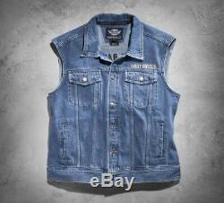 Harley-davidson Bar & Shield - Gilet En Denim Avec Logo Gr. 3xl Herren Jeans Weste, Bleu