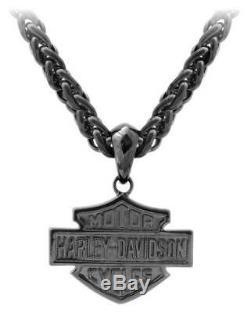 Harley-davidson Bar & Shield Hommes Blackout Collier, Hsn0062 En Acier Inoxydable