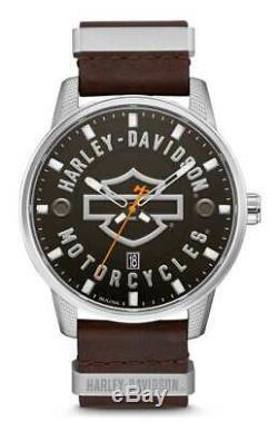Harley-davidson Bar & Shield Hommes Brown En Cuir Montre En Acier Inoxydable 76b178
