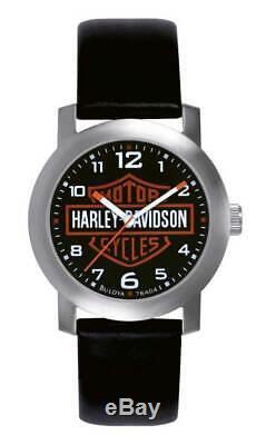 Harley-davidson Bar & Shield Hommes En Cuir Montre-bracelet 76a04