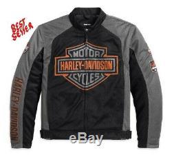 Harley-davidson Bar & Shield Hommes Logo Mesh Riding Veste Noire 98233-13vm