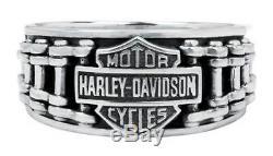 Harley-davidson Bar & Shield Hommes Vélo Anneau De La Chaîne, En Argent Sterling Hdr0260