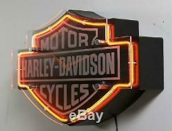 Harley-davidson Bar & Shield Neon Clock Toutes Les Grottes De L'homme Doivent En Avoir Un Bon Prix