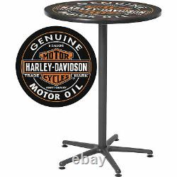 Harley-davidson Bar & Shield Oil Can Tall Round Cafe Bistro Pub Table 41po. H