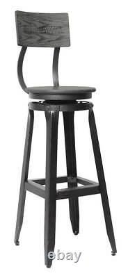 Harley-davidson Bar & Shield Rustic Wood Backrest Bar Tabouret Hdl-12212